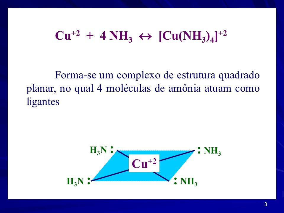 : NH3 Cu+2 + 4 NH3  [Cu(NH3)4]+2 Cu+2